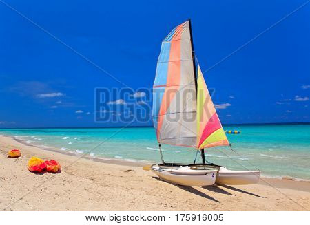 Kayaks and catamarans at the beautiful beach of Varadero in Cuba