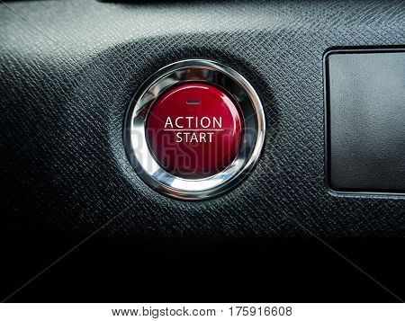 Big red action button on the black background