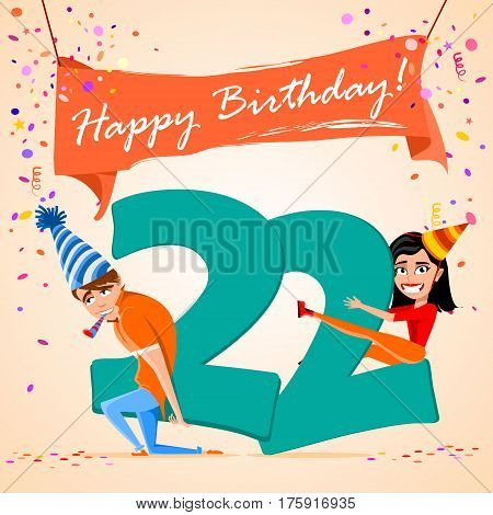confused boy holding the number 22 on a colorful background. banner Happy Birthday. vector illustration.