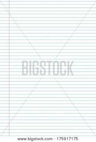 Vector notebook paper background template with left side fild for notes.