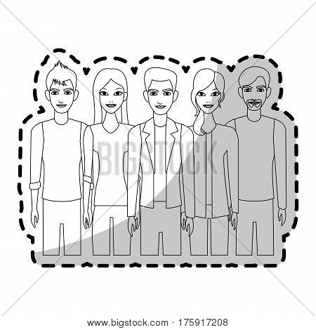 group of atractive men and women icon image vector illustration design