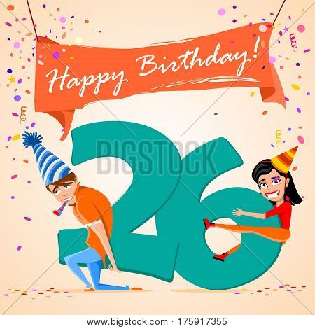 confused boy holding the number 26 on a colorful background. banner Happy Birthday. vector illustration.