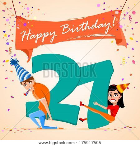 confused boy holding the number 27 on a colorful background. banner Happy Birthday. vector illustration.