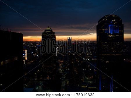 Beautiful sunset at city with skycraper background