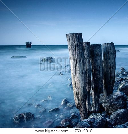 Beautiful landscape at sea with old groynes
