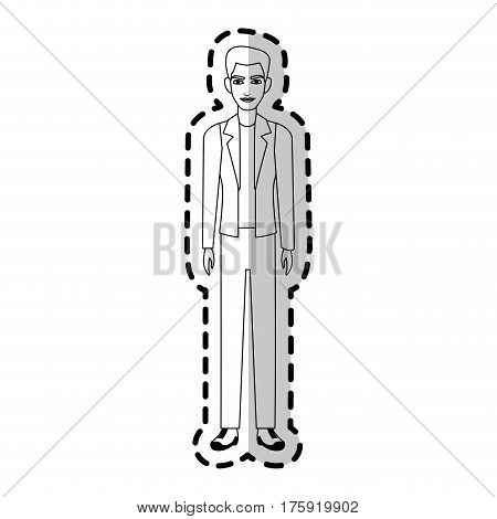 young handsome man wearing blazer icon image vector illustration design