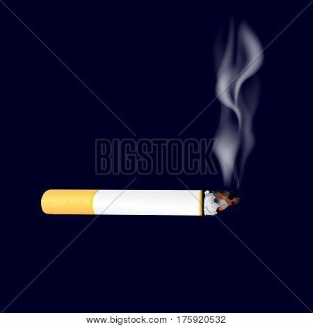 Smoking cigarette on dark background. Burning cigarette with smoke. Vector illustration.