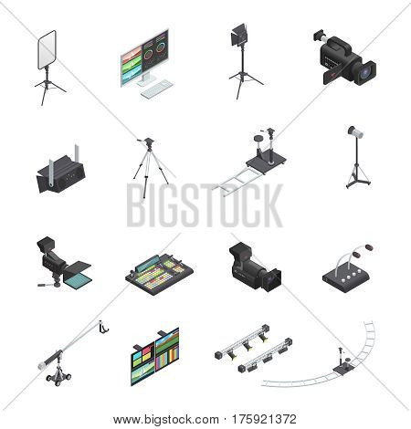 Set of sixteen isolated video and television broadcast studio equipment isometric icons including cameras and lighting vector illustration