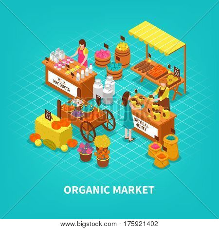 Market concept with fresh natural local growing organic products trade fair with people characters at counters vector illustration