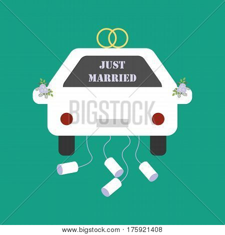 Just Married car on the green background. Vector illustration