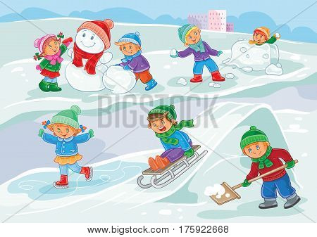 winter illustration of small children mold snowmen, playing with snowballs, sledding and ice skating