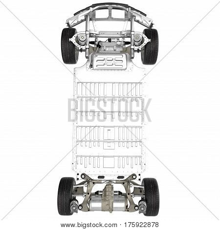 Sedan chassis with electric engine with battery isolated on white background. Top view. 3D illustration