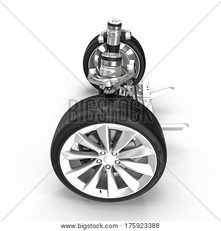 Electric Car Front Axle with new tire isolated on white background. Side view. 3D illustration