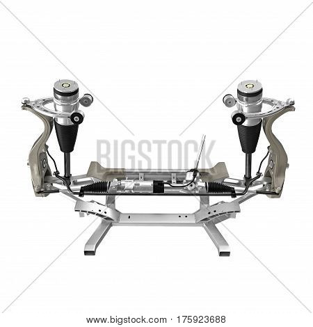 Electric Car Front Axle isolated on white background. Front view. 3D illustration