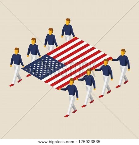 Eight People Hold Big Usa Flag