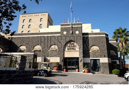 TIBERIAS ISRAEL - FEBRUARY 26 2017: Facade of the Scots hotel-museum St. Andrew's Galilee