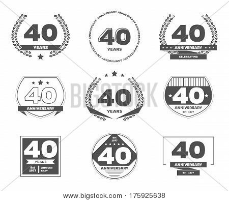 Forty years anniversary logotypes and badges. 40th anniversary logo collection.