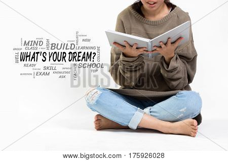 What's Your Dream? Word Cloud With Girl Holding A Notebook.