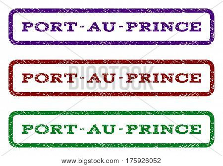 Port-Au-Prince watermark stamp. Text caption inside rounded rectangle with grunge design style. Vector variants are indigo blue, red, green ink colors. Rubber seal stamp with dirty texture.