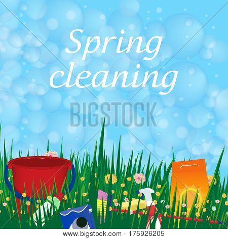 Conceptual poster for cleaning. Soap bubbles frame. Spring service. Vector illustration.