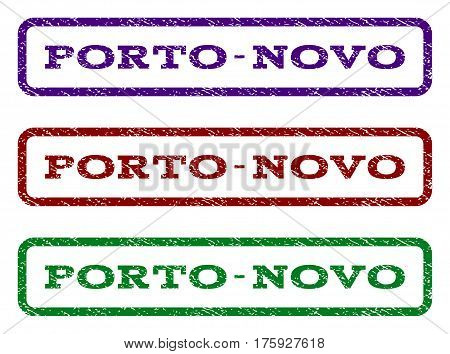 Porto-Novo watermark stamp. Text caption inside rounded rectangle with grunge design style. Vector variants are indigo blue, red, green ink colors. Rubber seal stamp with scratched texture.