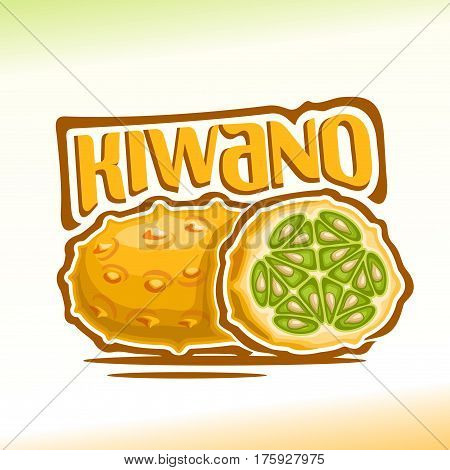 Vector logo Kiwano Fruit: still life of 2 yellow fresh kiwano, cut half exotic fruit with green seeds, abstract icon horned melon or sweet african cucumber with title text for label, isolated on white