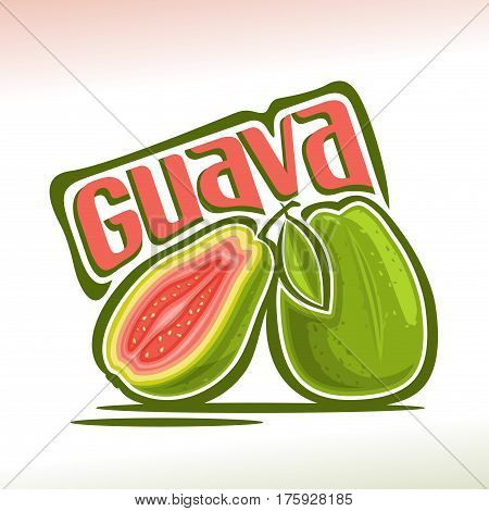 Vector logo Guava Fruit: still life of 2 whole and sliced half guava with green leaf, fresh pale pink exotic fruits, abstract cartoon icon amrood or amrud with title text for label, isolated on white.