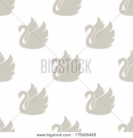 White swan. Seamless vector pattern on white background