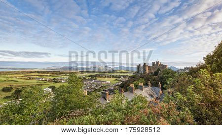 Harlech Wales United Kingdom - September 20 2016: Panoramic view of Harlech Castle in North Wales at sunrise