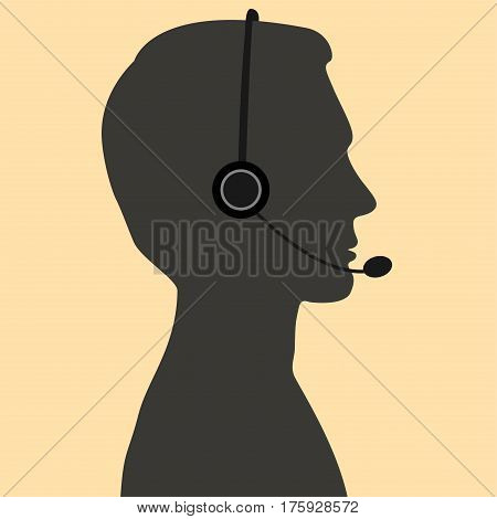 Telephone operator boy. Vector illustration. Flat style