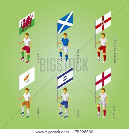 Footbalers With Flags: Cyprus, Israel, England, Wales, Northern Ireland, Scotland