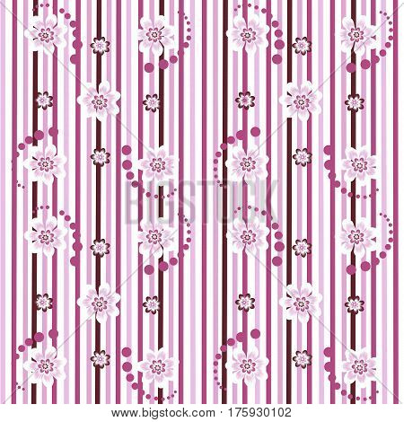 Striped pink floral seamless pattern for cotton and linen fabrics can be used for summer and spring clothes home textiles and napkins handkerchiefs linens and wrapping. Raster illustration