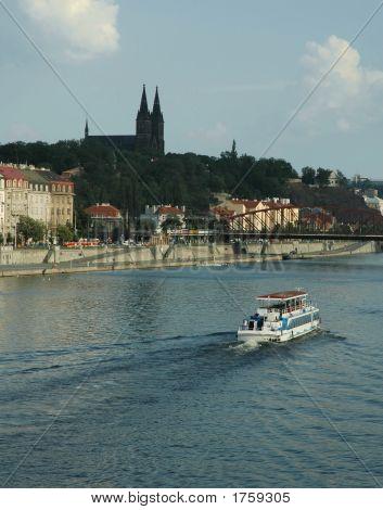 Prague Vltava Riverside With Vysehrad