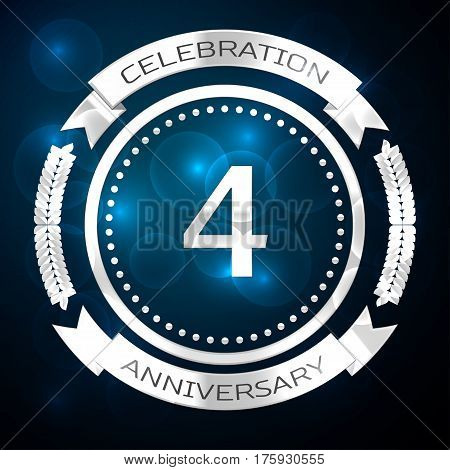 Four years anniversary celebration with silver ring and ribbon on blue background. Vector illustration
