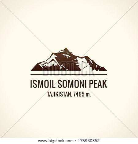 Mountain tourist raster logo. Emblem Mount adventures. Icon mount. Highest mountains in world. Ismoil Somoni Peak