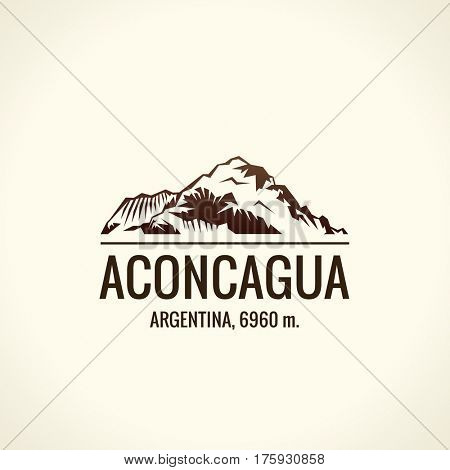 Mountain tourist raster logo. Emblem Mount adventures. Icon mount. Highest mountains in world. Aconcagua
