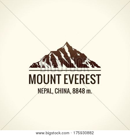 Mountain tourist raster logo. Emblem Mount adventures. Icon mount. Highest mountains in world. Everest