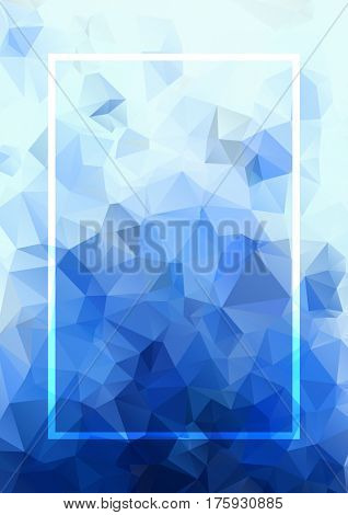 Abstract raster blue background. Geometric abstract background, pastel color. Modern stylish abstract design poster, cover, card design. Polygonal vintage texture, dots pattern and geometric elements