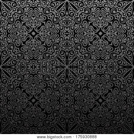 Seamless islam pattern. Vintage floral black background. Raster royal black. Oriental design and baroque wallpaper