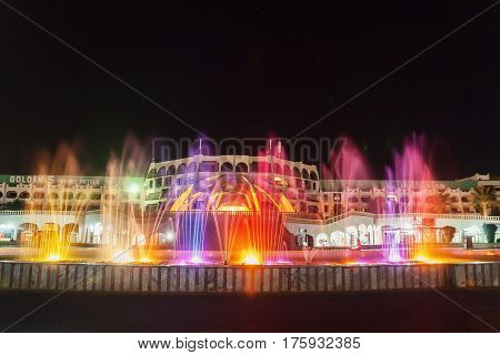 The Colorful Of Fountain On The Lake At Night. Egypt. Hurghada. Hotel Golden 5, October 9, 2016.