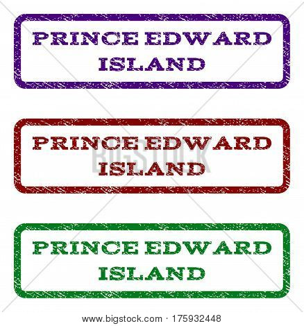 Prince Edward Island watermark stamp. Text caption inside rounded rectangle frame with grunge design style. Vector variants are indigo blue, red, green ink colors.