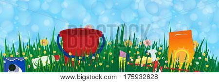 Soap bubbles banner. Spring cleaning service concept. Vector illustration.