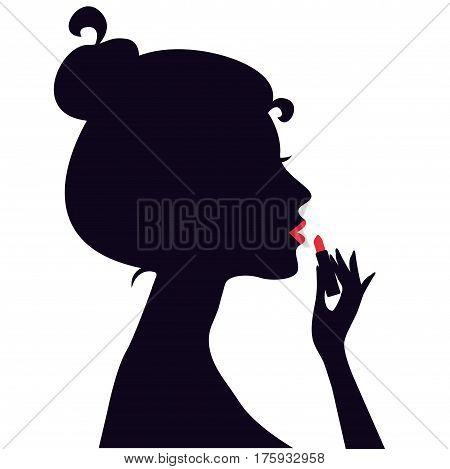 Woman applying lipstick. Vector illustration isolated on white