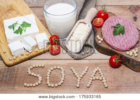 soya word with food on wood background