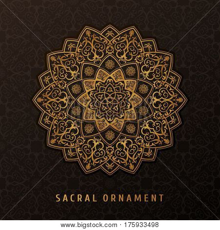 Ethnic raster pattern mandala design for invitations, cards, labels. Round logo template. Luxury floral woven. Oriental ornament in boho style. Islamic background
