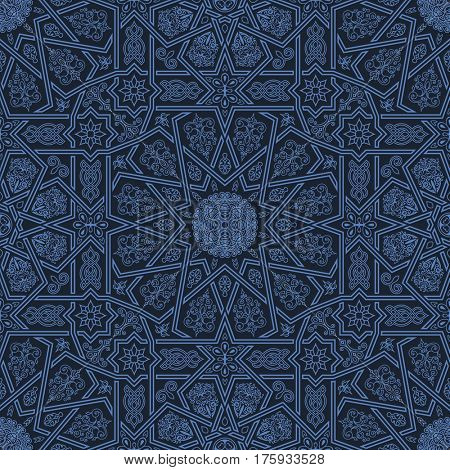 Seamless islamic Moroccan pattern. Arabic ornament. Geometric tiled texture. Vintage repeating background. raster royal Oriental design and wallpaper