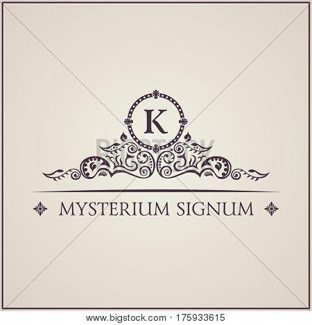 Vintage luxury emblem. Elegant Calligraphic pattern on raster logo. Black and white monogram K