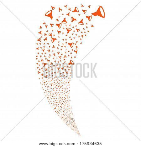 Filter random fireworks stream. Vector illustration style is flat orange iconic symbols on a white background. Object fountain made from scattered pictograms.
