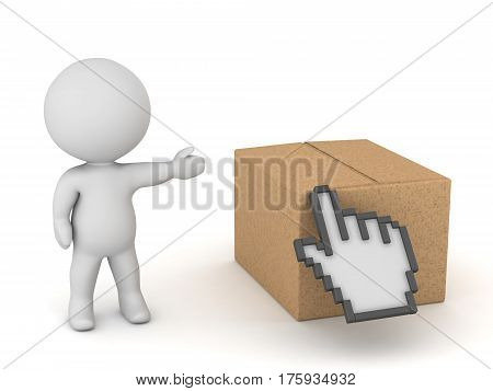 3D character showing a cardboard box with a click hand cursor over it. Isolated on white background.