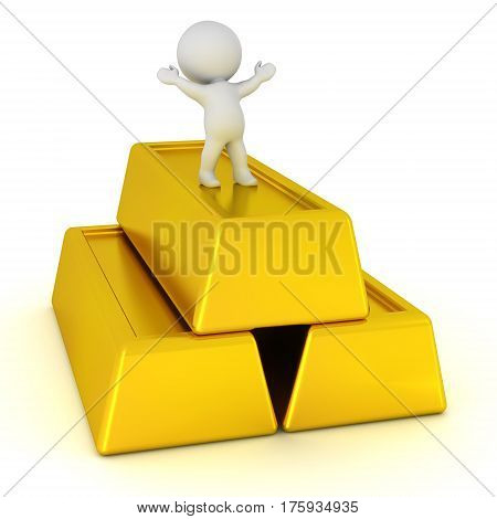 Small 3D character and large gold bars. Isolated on white background.